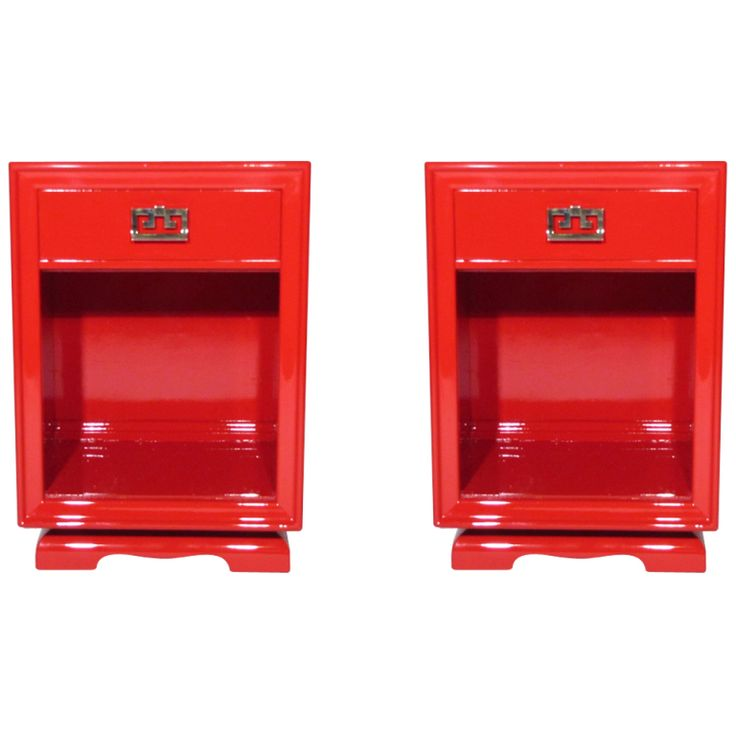 mid century vermillion lacquer night stands with brass pulls by James Mont