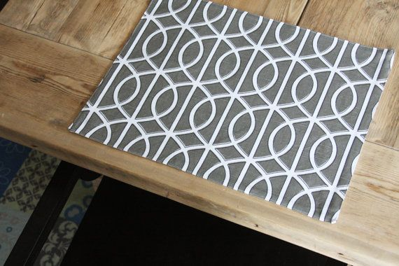 Modern Placemats... Grey Squiggles, modern and classic This is the same grey/brindle color that you see in the Pet Placemat listings of the same fabric. https://www.etsy.com/listing/75282794/pet-mat-placemat-for-your-dog-or-cats?ref=shop_home_active https://www.etsy.com/listing/93438721/pet-placemat-grey-squiggle-large-size?ref=shop_home_active  Each Modern Placemat measures about 16 3/4 x 13 1/2 and this listing is fo...