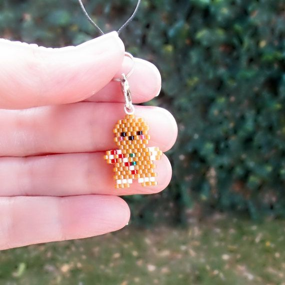 Cute Gingerbread Man Phone Charm Candy Cane Delica by BeadCrumbs