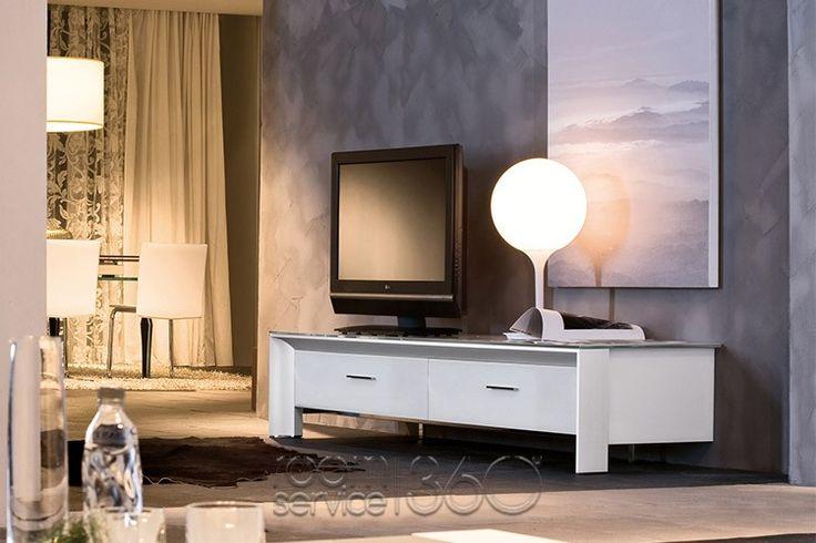 All White Miami Designer Glass TV Stand by Tonin Casa