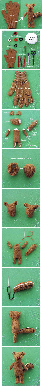 Paso a paso de como hacer un oso con un guante