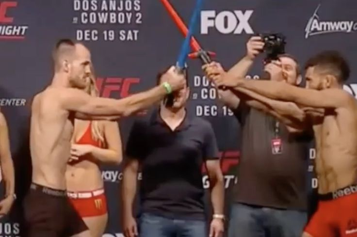 The force is with everyone, including these two UFC fighters.  During weigh-ins for UFC on Fox 17, Jim Alers and Cole Miller decided to have a lightsaber battle, because why not? ...