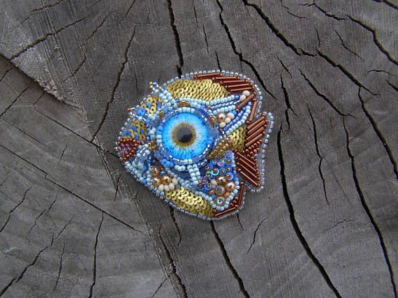 Brooches for women beaded animal brooch Blue Fish jewelry Blue
