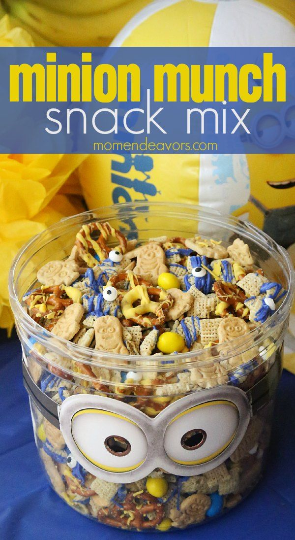 Minion Munch Snack Mix - perfect for a movie night or Minions party. No-bake sweet & salty snack!