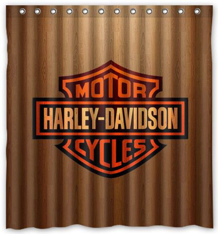 nl752 wooden design harley davidson motor cycles shower curtain bath 66 x 72 unique design. Black Bedroom Furniture Sets. Home Design Ideas