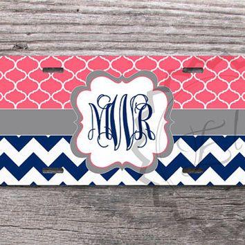 Monogrammed License Plate - Monaco blue chevron and Bright coral moroccan pattern with Gray monogram, personalized front license plate - 309