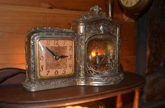 Vintage Mantel Clock Electric Tabletop Brass Clock 1950 39 S Working Fireplace Clock United