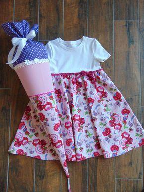 Schultüten - Schultüte Stoff Einschulung Kleid Blumen Größe 122 - ein Designerstück von JaLe-Design bei DaWanda