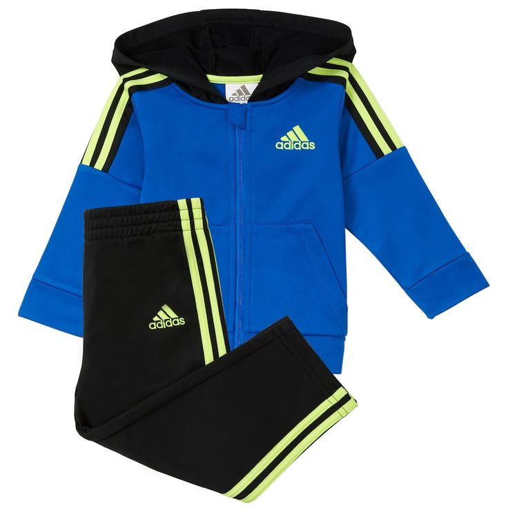 Baby Boy Adidas Striped Zip Hoodie & Pants Set, Size: 24 Months, Brt Blue