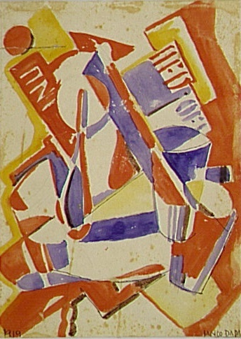 Marcel Janco, Réminiscence, 1919, Aquarelle sur papier (watercolor on paper), 21 x 15,5 cm, Paris, Centre Pompidou