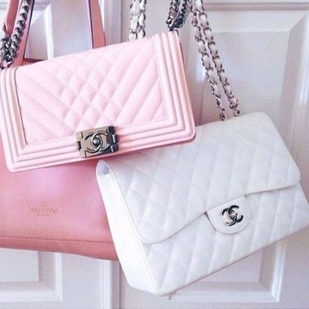 chanel baby pink bags- How to style your Chanel bags http://www.justtrendygirls.com/how-to-style-your-chanel-bags/