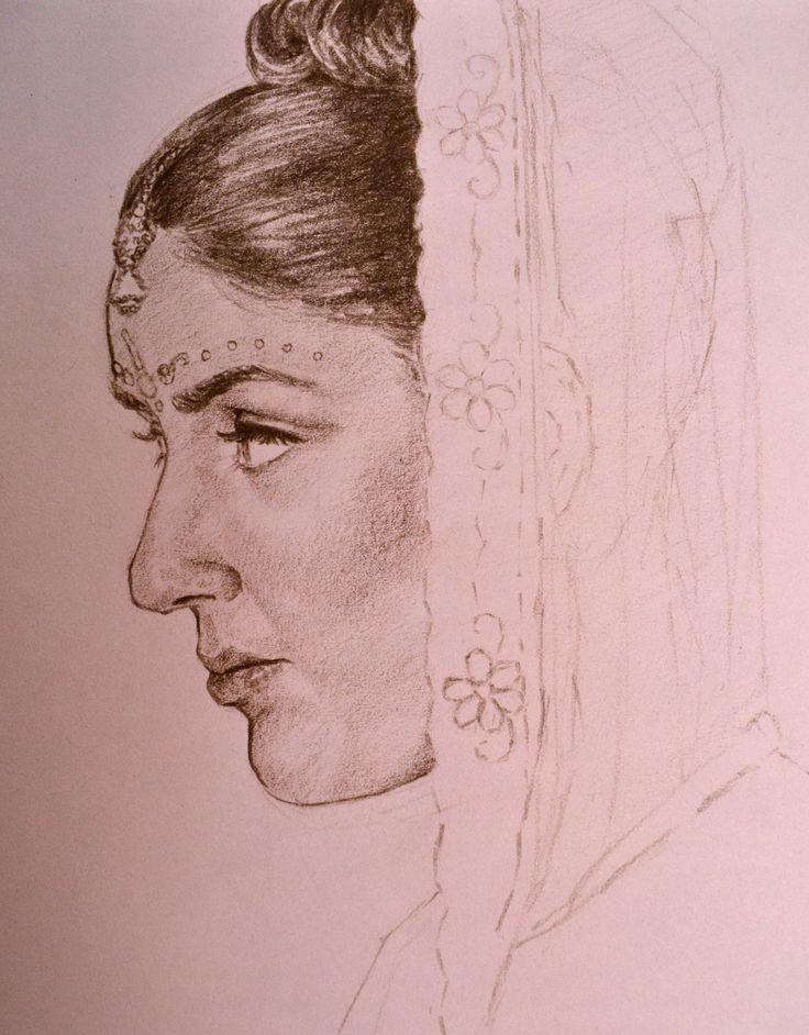 Indian bride sketch, Cristina Forte on ArtStation at https://www.artstation.com/artwork/indian-bride-sketch
