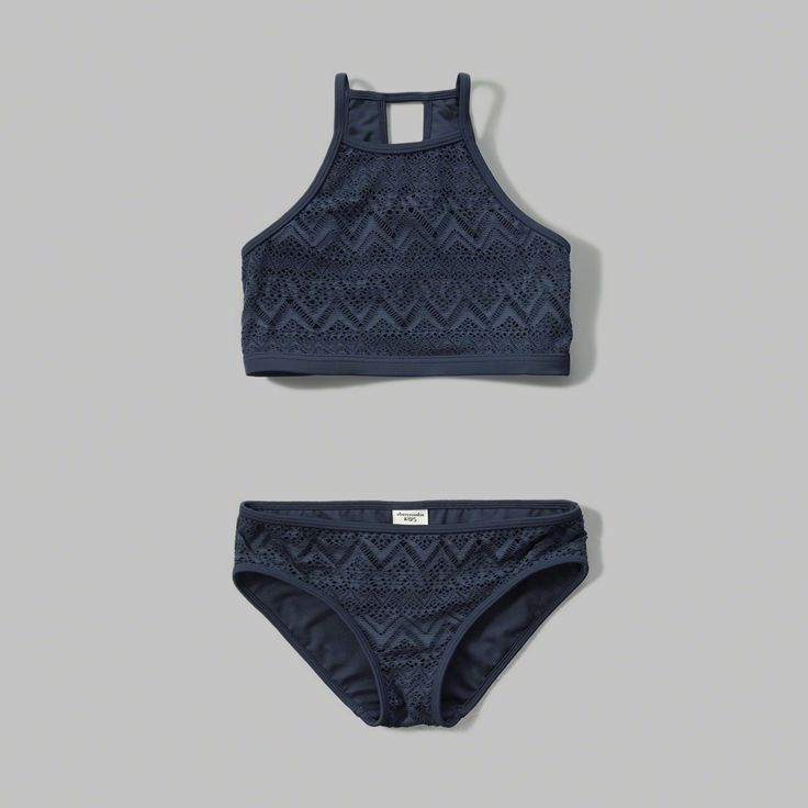 sporty high neck swim top with all-over pattern, keyhole detail at back and matching classic fit bikini bottom, imported