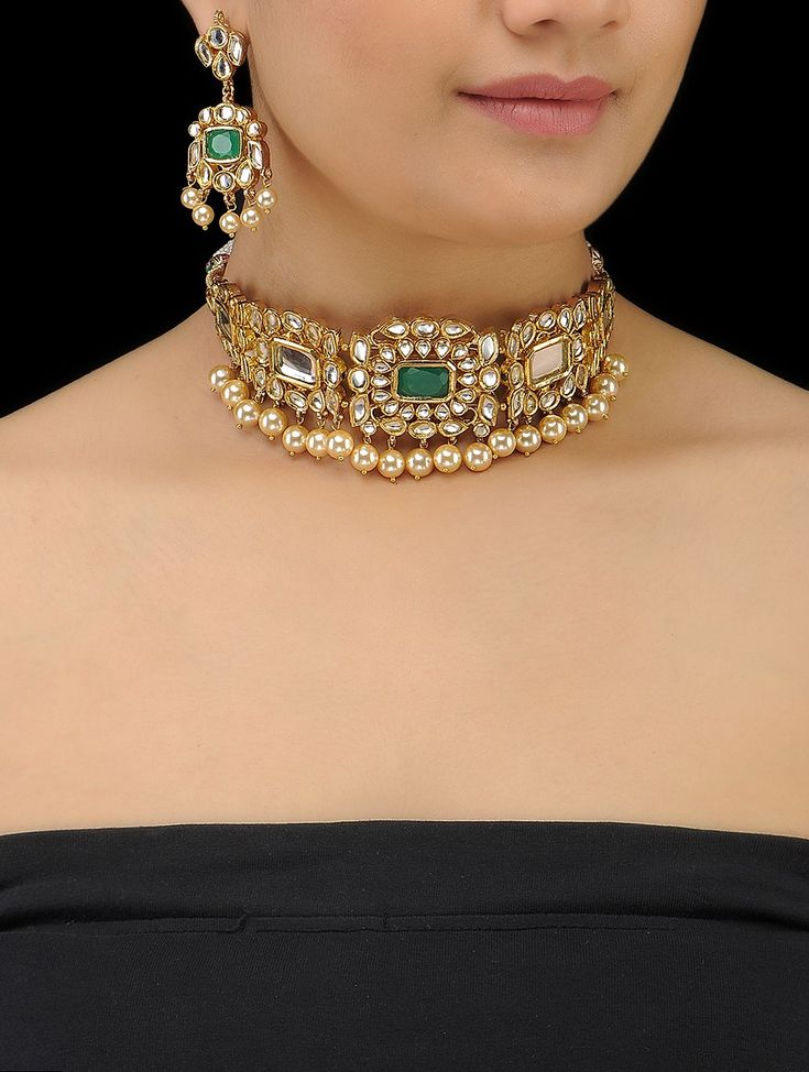 Buy Green Golden White Onyx Gold Tone Kundan inspired Shell Pearl Drop Necklace with a Pair of Earrings (Set 2) Metal Alloy Polish Thread Pearls Fashion Jewelry Necklaces/Pendants Regalia necklaces and more gemstones Online at Jaypore.com