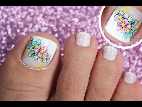 Decoración De Uñas Para Pies Mariposa Y Francés Butterfly Nail