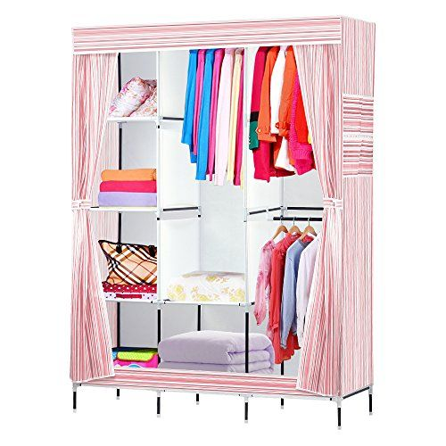"""NEX Wardrobe DIY Clothes Storge Cabinet Portable Tool Organizer Bedroom Closet Doll Collection(Pink):   <br><b>Features:</b> <br>1. Protect your seasonal clothes or daily accessories with this 59"""" portable closet; <br>2. It makes a great addition to any home with storage issues; <br>3. 3 hanging rods and 9 shelves offers roomy space for hanging clothes and storing garments or other stuffs, like shoes, bags, baby toys, hats etc; <br>4. The fabric cover protects your garments from dust, ..."""
