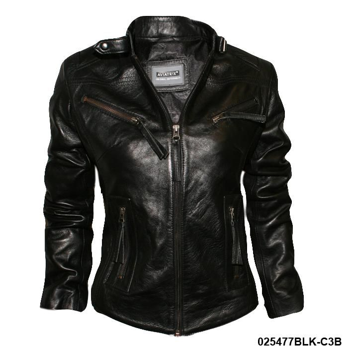 Ladies Black Fitted Biker Real Leather Jacket | eBay, Cora