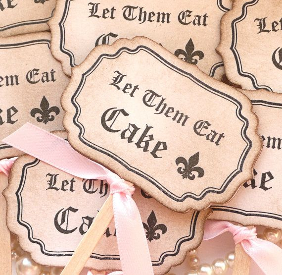 Cupcake Toppers Let Them Eat Cake   Black and Pink  by amaretto, $9.20