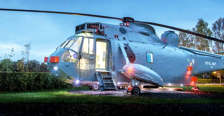 Royal Navy Helicopter Transformed Into An Amazing Hotel Room In - Royal navy sea king gets transformed into unique glamping pod