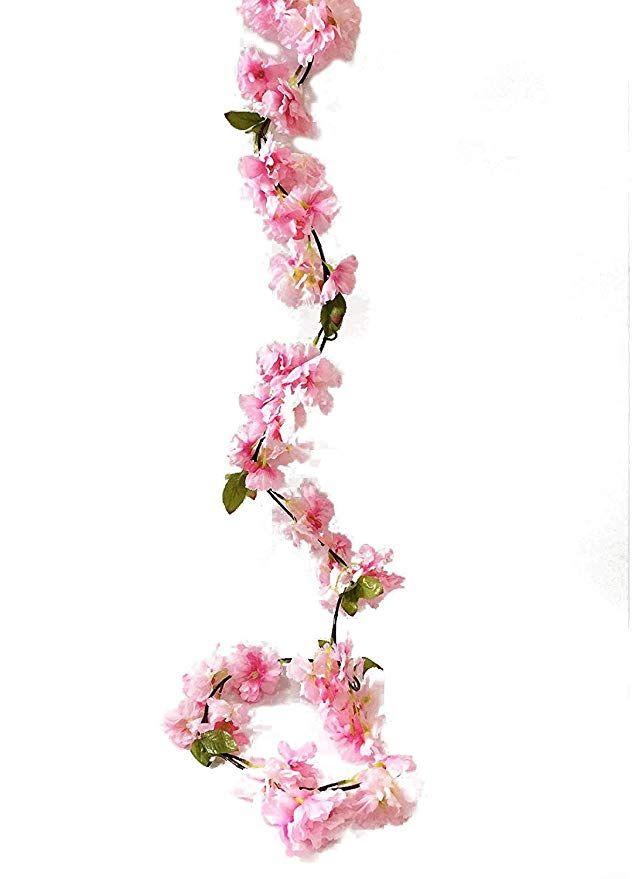 Artfen Artificial Cherry Blossom Vine Hanging Plants Faux Sakura Garland Fake Oriental Cherry Wreath A Hanging Plants Artificial Flowers Cherry Blossom Flowers