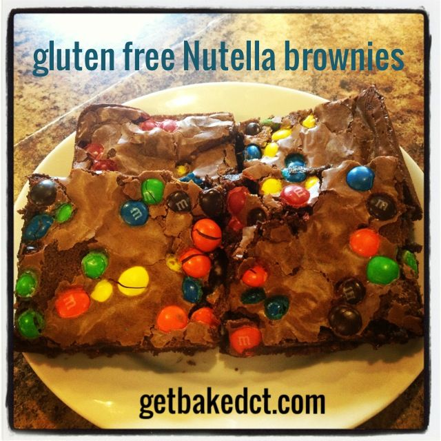 Gluten free Nutella brownies - with M&Ms!!