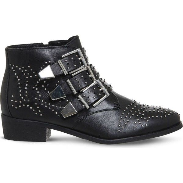 Office Lucky charm leather ankle boot ($90) ❤ liked on Polyvore featuring shoes, boots, ankle booties, short leather boots, leather upper boots, studded booties, buckle boots and buckle booties