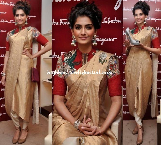 To unveil her customized pair o' Ferragamos, Sonam Kapoor picked an Anamamika Khanna draped sari-pants look