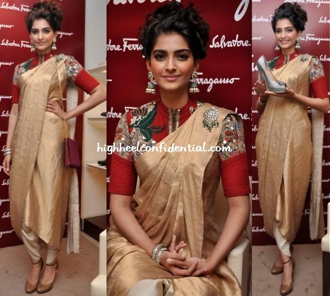 To unveil her customized pair o' Ferragamos, Sonam Kapoor picked an Anamamika Khanna draped sari-pants look