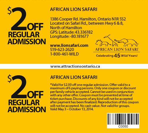 ATTRACTIONS ONTARIO - $2.00 Off African Lion Safari. Steve Pacheco Real Estate.  More coupons: http://bit.ly/1hupagH