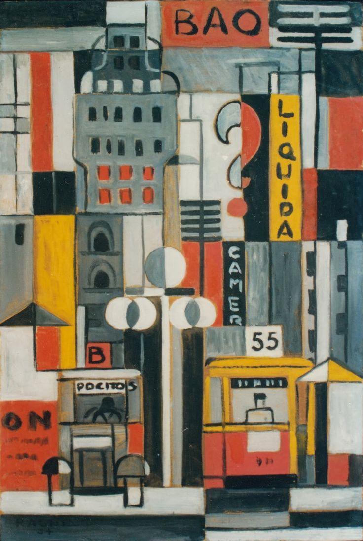 """Héctor Ragni, """"Avenida 18 de Julio"""". Óleo sobre cartón, 62,5 x 42,4 cm., 1934. Noviembre de 1996."""