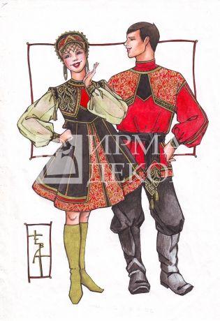 Женский танцевальный костюм стилизованный (мод-1024)