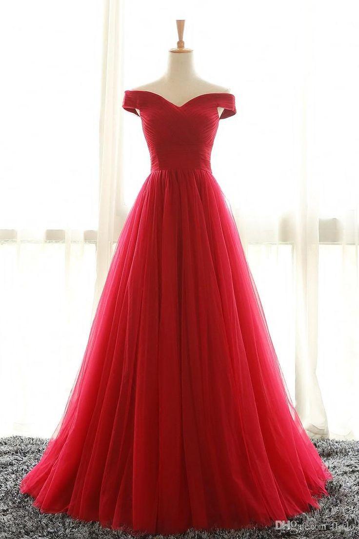 Unique Cheap Off Shoulder Red Tulle Prom Party Dresses Sweep Train Pleated Plus Size Corset Formal Evening Gowns