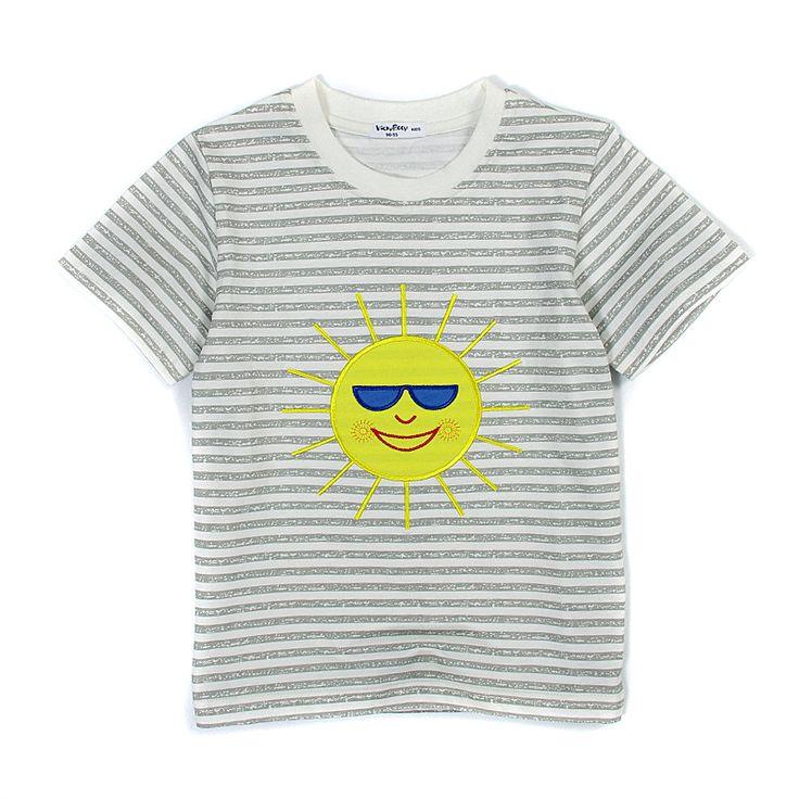 半袖Tシャツ グレー×サングラスの太陽 コットン100% 80cm~110cm