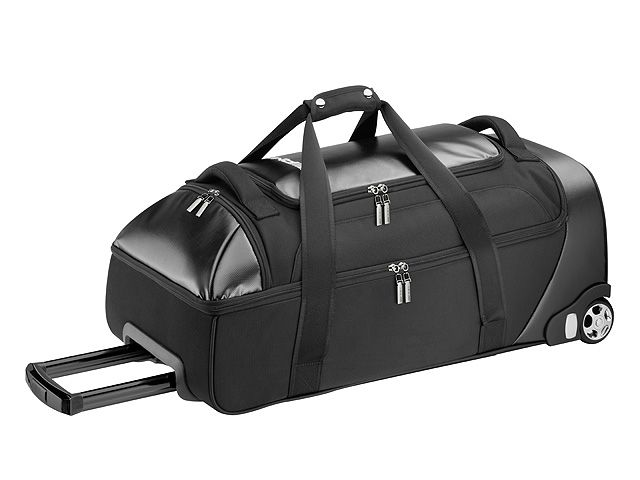 Holdall. Black. Tarpaulin/nylon. Large main compartment. Additional upper compartment. Wheels. Towbar. White AMG logo print. Size approx. 70 x 36 x 26 cm