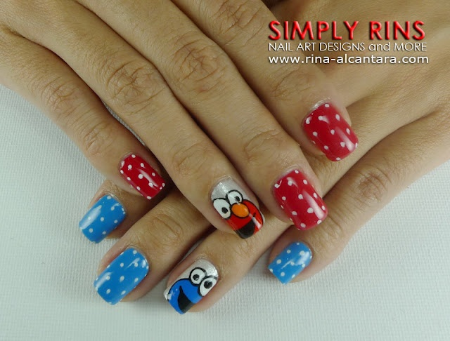 Cookie Monster and Elmo Nails