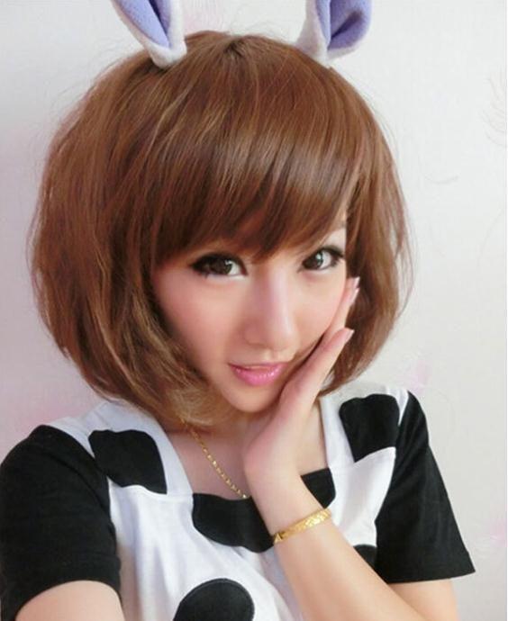 Ahomey мода пушистые короткие волосы парики косой челкой черный / коричневый природный бобо париккупить в магазине AHomeyнаAliExpress