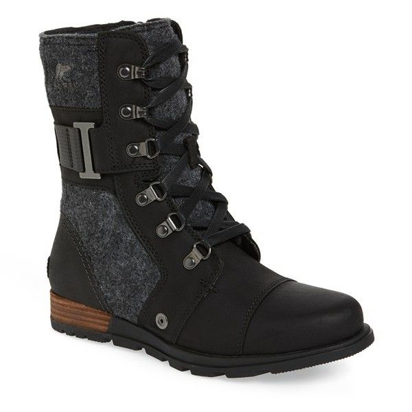 Women's Sorel 'Major Carly' Boot ($160) ❤ liked on Polyvore featuring shoes, boots, ankle booties, black, black military style boots, rugged boots, military style boots, lug sole booties and black ankle booties