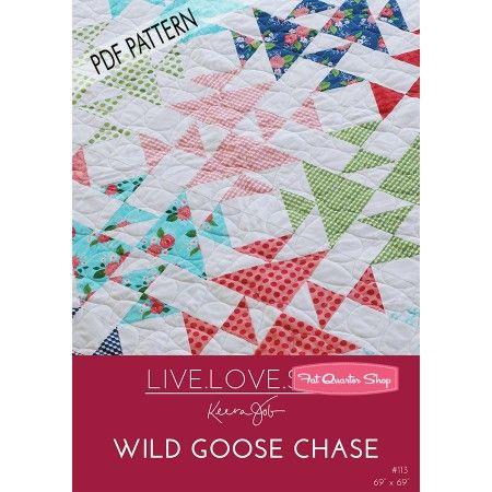 雁チェイスダウンロードPDFキルトパターンライブラブ縫う - ダウンロードPDFのパターン| ファットクォーターショップ