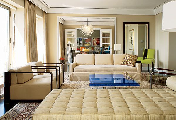 """""""That wonderful blue Yves Klein coffee table is the star of the living room,"""" says decorator Michael Richman."""
