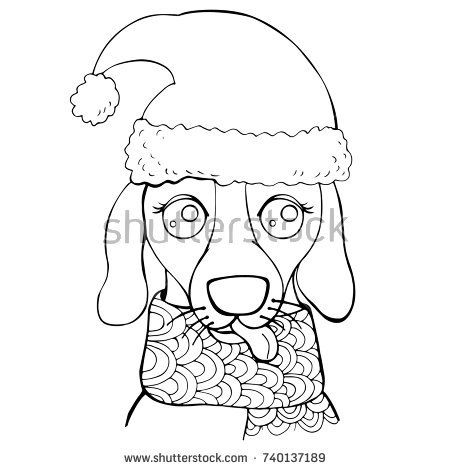 Muzzle of a dog in a hat and scarf. New Year page of coloring pages for children