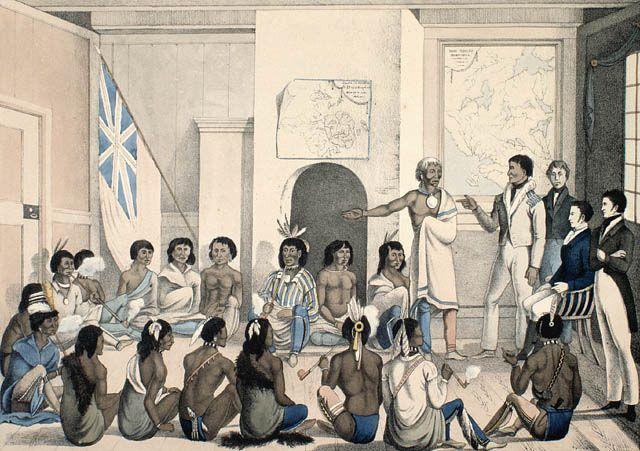 The Red Lake Chief making a speech to the Governor of Red River at Fort Douglas in 1825 / Le chef de Red Lake s'adressant au gouverneur de la rivière Rouge à Fort Douglas, en 1825 | by BiblioArchives / LibraryArchives