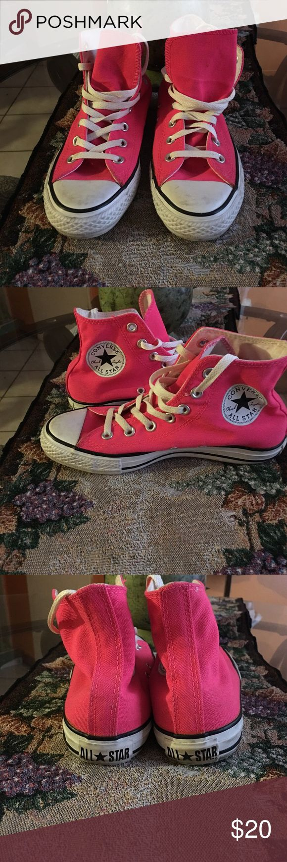 Neon Pink Converse Neon Pink Converse Pre Owned Good Condition Converse Shoes Sneakers