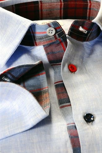 Linen Blouse, Color Celeste finished in Tartan Color Blue, Men's Shirt, Shirt Tailor - $135