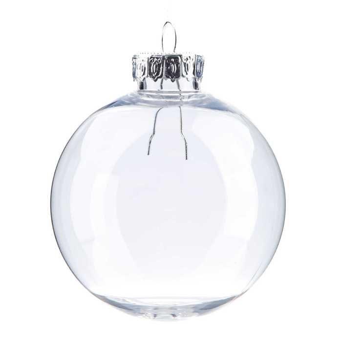 "2 1/2"" Clear Plastic Ornament Ball"