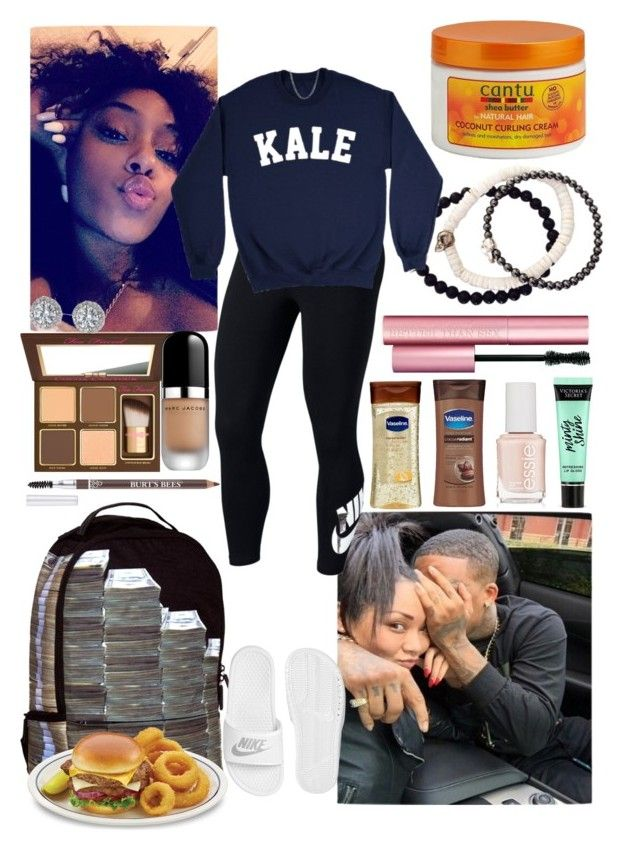 """K A L E"" by azariaaaaaa ❤ liked on Polyvore featuring Duchess of Malfi, Too Faced Cosmetics, Vaseline, Sprayground, NIKE, Victoria's Secret, Cantu, Essie and Marc Jacobs"