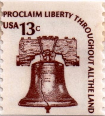 US postage stamp, 13 cents. Proclaim Liberty Throughout All the Land. Coil stamp issued 25 Nov 1975 in Allentown, PA. Scott catalog 1618.