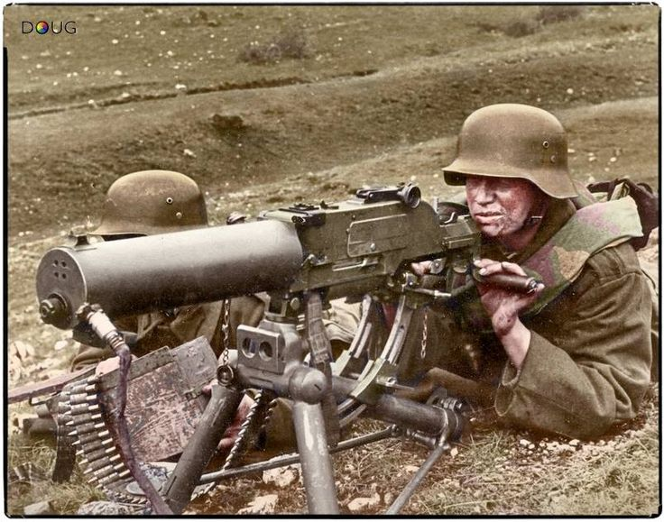 Royal Hungarian Honvéd machine gun team operating a 8mm Schwartzlose MG 07/12 on the Eastern Front c.1941