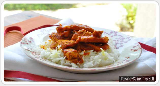Recette bio : poulet sauce tomate et curcuma