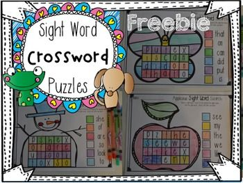 Sight Word Crossword Puzzles Freebie is a sample of our Sight Word Crossword Puzzles unit.  It is the perfect print and go sight word activity for your classroom. This activity is a great printable to use in any word work center, for students that finish early, morning work and homework.