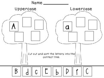 Great activity to reinforce upper and lowercase letter recognition. This product comes with one worksheet that cover A-F. Check out my other product that comes with 5 that cover A-Z    http://www.teacherspayteachers.com/Product/Upper-and-Lowercase-Sort-A-Z-861453   Fonts by: The Learning Tree Graphics by: MyCuteGraphics.com